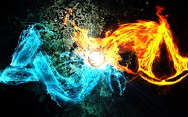Preview wallpaper Fire and water, ball, creative picture