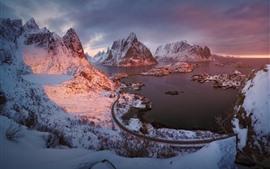 壁紙のプレビュー フィヨルド、ロフォーテン諸島、山、海、ノルウェー
