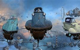 Vorschau des Hintergrundbilder Flugwagen, Schwimmhäuser, Himmel, kreatives Design