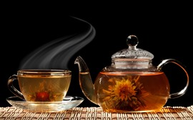 Preview wallpaper Flowers tea, cup, kettle, steam