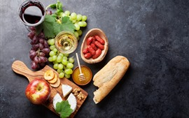 Preview wallpaper Food, grapes, apple, cheese, bread, sausage, wine