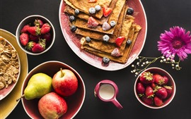 Preview wallpaper Food, pancakes, strawberry, apples, pear, gerbera