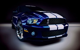 Preview wallpaper Ford Mustang blue car front view, headlight