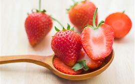 Preview wallpaper Fresh strawberry, spoon