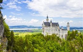 Alemanha, neuschwanstein, castelo, árvores, nuvens, primavera