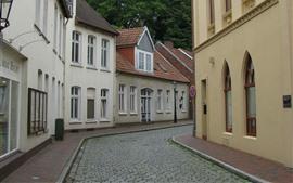 Alemania, ciudad, calle, casas, torre