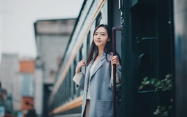 Girl, coat, train