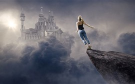 Girl want to fly, clouds, castle, creative picture