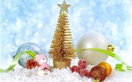 Preview wallpaper Golden Christmas tree, balls, toy, snow, shine
