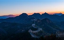 Великая китайская стена, горы, закат, Китай