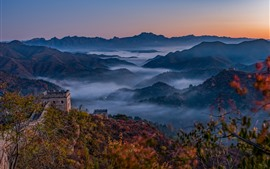Great Wall, mountains, top view, fog, China