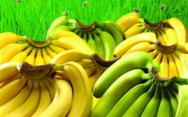 Preview wallpaper Green and yellow bananas, fruit