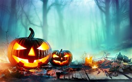 Preview wallpaper Halloween, pumpkin lantern, forest, night, fog