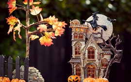 Halloween theme, house model, moon, pumpkin, tree, leaves