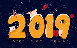 Feliz año nuevo 2019, año del cerdo, imagen artística