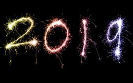 Feliz Ano Novo 2019, fogos de artifício, faíscas