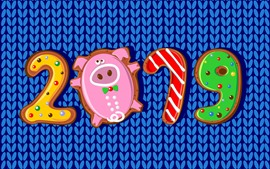 Happy New Year 2019, pig year, cookies, art picture