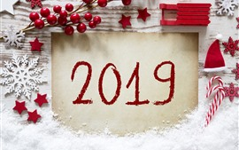 Happy New Year 2019, red style, candy, snowflakes, berries