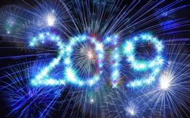 Ano novo feliz 2019, faíscas, brilho, fogos de artifício