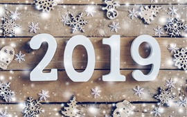 Preview wallpaper Happy New Year 2019, white numeric, snowflakes
