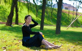 Preview wallpaper Happy girl, smile, meadow, trees, park