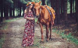 Preview wallpaper Horse and girl, trees