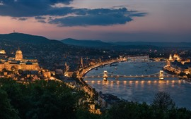 Hungary, Budapest, cityscape, night, river, bridge