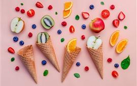 Preview wallpaper Ice cream cone, fruit slice, kiwi, orange, apple, strawberry, blueberry