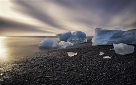 얼음, 바다, 해안, 돌, 아침