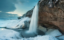 Preview wallpaper Iceland, Seljalandsfoss, waterfall, winter, snow, cliff