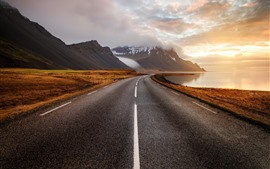 Preview wallpaper Iceland, mountains, road, clouds, sunset, fog