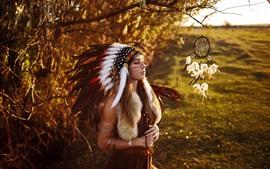 Индия девушка, перья, украшение головы