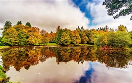 Preview wallpaper Ireland, Botanic Gardens Dublin, trees, lake, water reflection, autumn