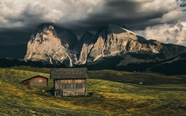 Preview wallpaper Italy, Alpe di Siusi, South-Tyrol, mountains, wood houses, clouds