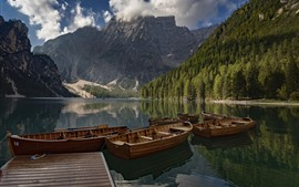 Preview wallpaper Italy, Dolomites, South Tyrol, mountains, trees, lake, boats