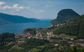 Preview wallpaper Italy, Garda, lake, mountains, city, clouds