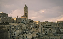 Italy, Matera, Basilicata, houses, clouds, city