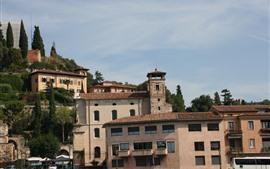Itália, verona, edifícios, árvores, cidade
