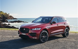 Preview wallpaper Jaguar F-Pace red SUV car