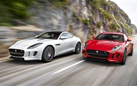 Preview wallpaper Jaguar red and white cars, speed