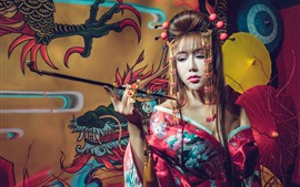 Preview wallpaper Japanese girl, kimono, smoke, umbrella