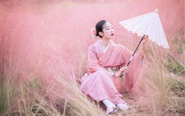 Preview wallpaper Japanese girl, kimono, umbrella, flowers