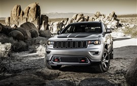 Vista frontal del auto Jeep Grand Cherokee SUV
