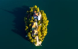 Preview wallpaper Lake Bled, island, church, top view, Slovenia