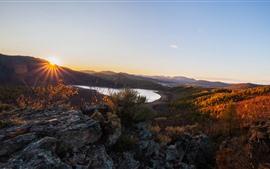 Lake, mountains, forest, trees, autumn, sun rays
