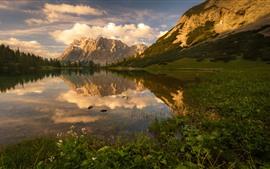 Lake, mountains, water reflection, clouds, sunset