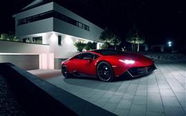 Lamborghini Huracan red supercar, night, lights