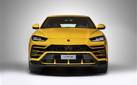 Preview wallpaper Lamborghini Urus yellow SUV supercar front view, headlight