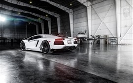 Preview wallpaper Lamborghini white supercar rear view, plane