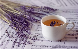 Preview wallpaper Lavender, tea, music score